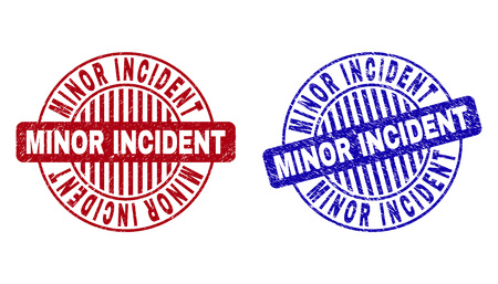 Grunge MINOR INCIDENT round stamp seals isolated on a white background. Round seals with distress texture in red and blue colors.