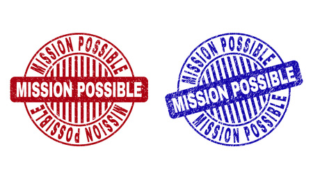 Grunge MISSION POSSIBLE round stamp seals isolated on a white background. Round seals with grunge texture in red and blue colors.