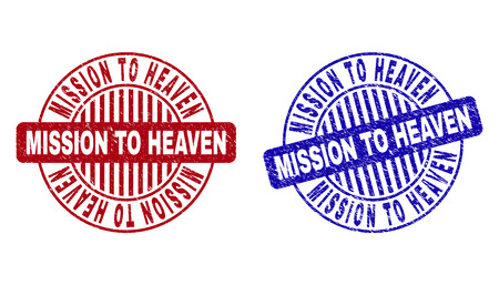 Grunge MISSION TO HEAVEN round stamp seals isolated on a white background. Round seals with grunge texture in red and blue colors. Illusztráció
