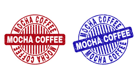 Grunge MOCHA COFFEE round stamp seals isolated on a white background. Round seals with grunge texture in red and blue colors.