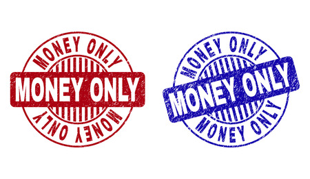 Grunge MONEY ONLY round stamp seals isolated on a white background. Round seals with distress texture in red and blue colors. Illusztráció