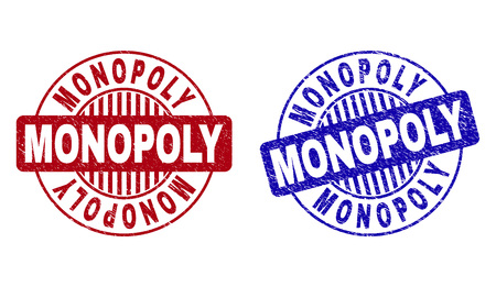 Grunge MONOPOLY round stamp seals isolated on a white background. Round seals with grunge texture in red and blue colors. Vector rubber imprint of MONOPOLY title inside circle form with stripes.