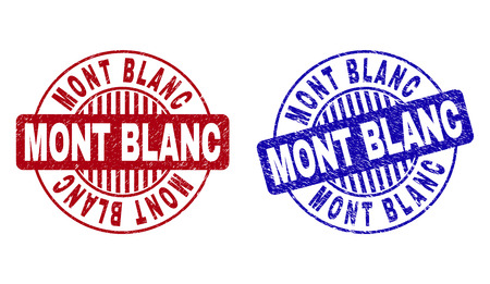 Grunge MONT BLANC round stamp seals isolated on a white background. Round seals with grunge texture in red and blue colors. Vector rubber imitation of MONT BLANC text inside circle form with stripes.