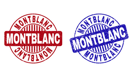 Grunge MONTBLANC round stamp seals isolated on a white background. Round seals with grunge texture in red and blue colors. Vector rubber overlay of MONTBLANC caption inside circle form with stripes.