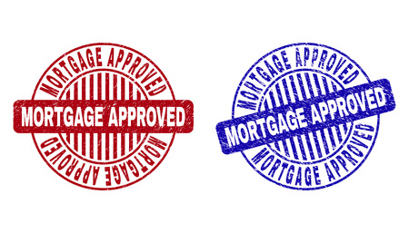 Grunge MORTGAGE APPROVED round stamp seals isolated on a white background. Round seals with grunge texture in red and blue colors.