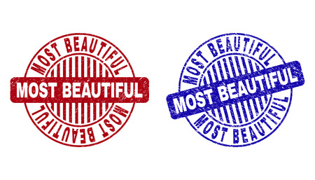Grunge MOST BEAUTIFUL round stamp seals isolated on a white background. Round seals with grunge texture in red and blue colors. 일러스트