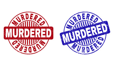Grunge MURDERED round stamp seals isolated on a white background. Round seals with grunge texture in red and blue colors. Vector rubber imitation of MURDERED caption inside circle form with stripes.
