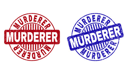 Grunge MURDERER round stamp seals isolated on a white background. Round seals with grunge texture in red and blue colors. Vector rubber imprint of MURDERER tag inside circle form with stripes.