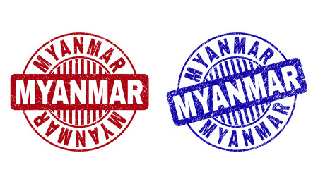 Grunge MYANMAR round stamp seals isolated on a white background. Round seals with distress texture in red and blue colors. Vector rubber watermark of MYANMAR caption inside circle form with stripes.