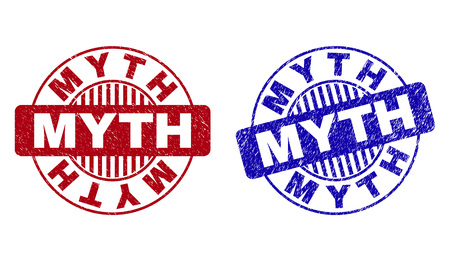 Grunge MYTH round stamp seals isolated on a white background. Round seals with grunge texture in red and blue colors. Vector rubber overlay of MYTH caption inside circle form with stripes.