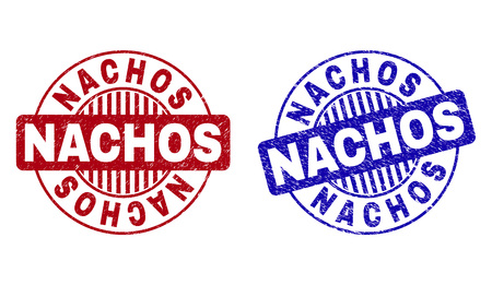 Grunge NACHOS round stamp seals isolated on a white background. Round seals with grunge texture in red and blue colors. Vector rubber imprint of NACHOS caption inside circle form with stripes.