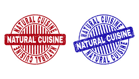 Grunge NATURAL CUISINE round stamp seals isolated on a white background. Round seals with grunge texture in red and blue colors. Illusztráció