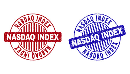 Grunge NASDAQ INDEX round stamp seals isolated on a white background. Round seals with grunge texture in red and blue colors.