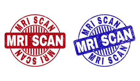 Grunge MRI SCAN round stamp seals isolated on a white background. Round seals with grunge texture in red and blue colors. Vector rubber imitation of MRI SCAN text inside circle form with stripes. Ilustracja