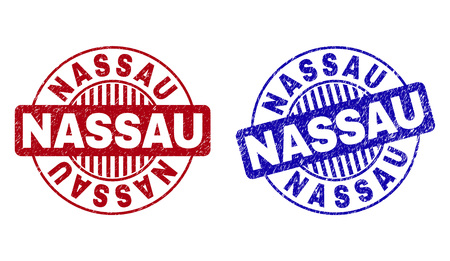 Grunge NASSAU round stamp seals isolated on a white background. Round seals with grunge texture in red and blue colors. Vector rubber overlay of NASSAU text inside circle form with stripes.