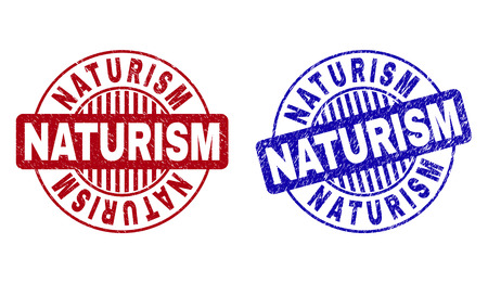 Grunge NATURISM round stamp seals isolated on a white background. Round seals with grunge texture in red and blue colors. Vector rubber imprint of NATURISM title inside circle form with stripes.