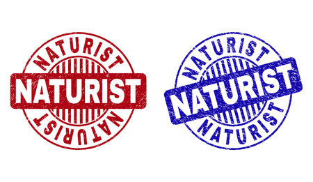 Grunge NATURIST round stamp seals isolated on a white background. Round seals with grunge texture in red and blue colors. Vector rubber overlay of NATURIST label inside circle form with stripes. Ilustrace