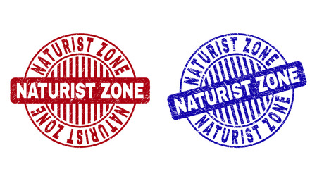 Grunge NATURIST ZONE round stamp seals isolated on a white background. Round seals with grunge texture in red and blue colors.