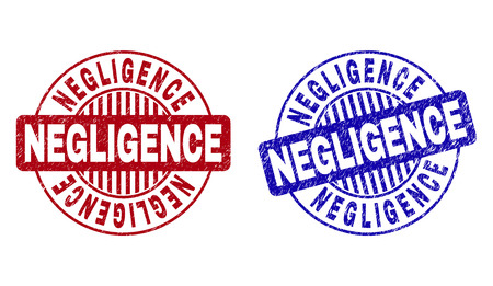 Grunge NEGLIGENCE round stamps isolated on a white background. Round seals with grunge texture in red and blue colors. Vector rubber overlay of NEGLIGENCE tag inside circle form with stripes.