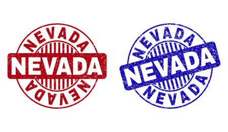 Grunge NEVADA round stamp seals isolated on a white background. Round seals with grunge texture in red and blue colors. Vector rubber imprint of NEVADA title inside circle form with stripes.