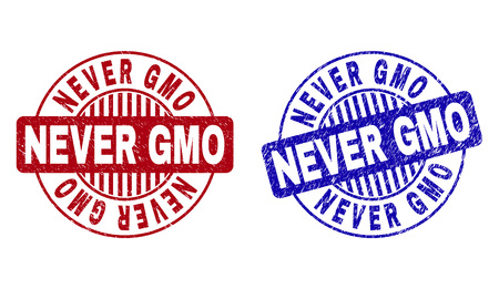 Grunge NEVER GMO round stamp seals isolated on a white background. Round seals with grunge texture in red and blue colors. Vector rubber imitation of NEVER GMO caption inside circle form with stripes.