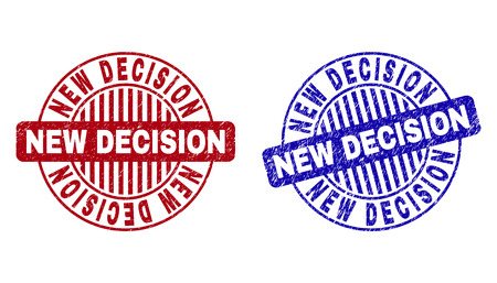 Grunge NEW DECISION round stamp seals isolated on a white background. Round seals with grunge texture in red and blue colors.  イラスト・ベクター素材
