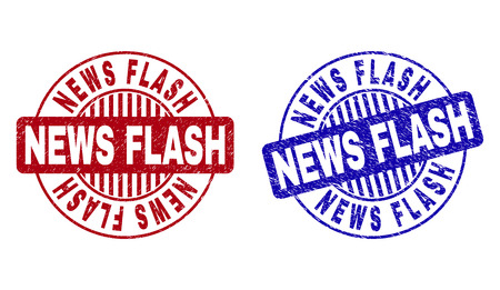 Grunge NEWS FLASH round stamp seals isolated on a white background. Round seals with distress texture in red and blue colors. Vector rubber imprint of NEWS FLASH tag inside circle form with stripes.