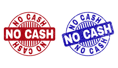 Grunge NO CASH round stamp seals isolated on a white background. Round seals with grunge texture in red and blue colors. Vector rubber watermark of NO CASH caption inside circle form with stripes.