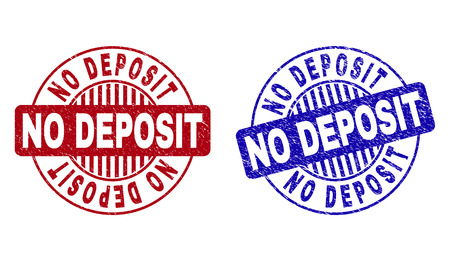 Grunge NO DEPOSIT round stamp seals isolated on a white background. Round seals with grunge texture in red and blue colors. Vector rubber overlay of NO DEPOSIT title inside circle form with stripes. Illustration