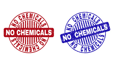 Grunge NO CHEMICALS round stamp seals isolated on a white background. Round seals with grunge texture in red and blue colors. Vector rubber overlay of NO CHEMICALS tag inside circle form with stripes.