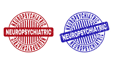 Grunge NEUROPSYCHIATRIC round stamp seals isolated on a white background. Round seals with grunge texture in red and blue colors. Ilustrace