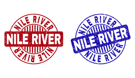 Grunge NILE RIVER round stamp seals isolated on a white background. Round seals with distress texture in red and blue colors. Vector rubber imprint of NILE RIVER text inside circle form with stripes.