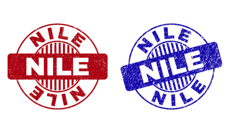 Grunge NILE round stamp seals isolated on a white background. Round seals with grunge texture in red and blue colors. Vector rubber overlay of NILE text inside circle form with stripes.