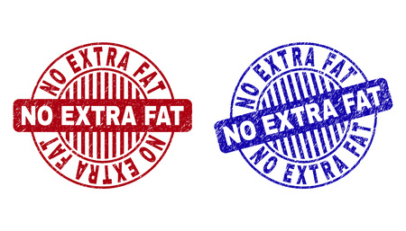 Grunge NO EXTRA FAT round stamp seals isolated on a white background. Round seals with grunge texture in red and blue colors.