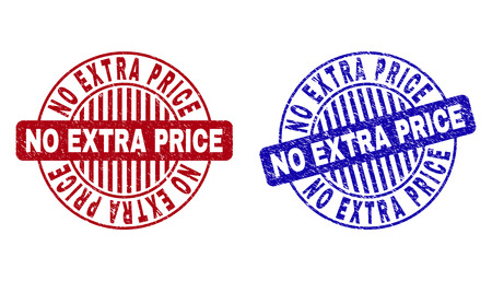 Grunge NO EXTRA PRICE round stamp seals isolated on a white background. Round seals with grunge texture in red and blue colors.