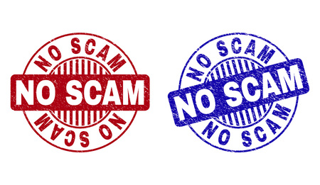 Grunge NO SCAM round stamp seals isolated on a white background. Round seals with grunge texture in red and blue colors. Vector rubber watermark of NO SCAM text inside circle form with stripes.