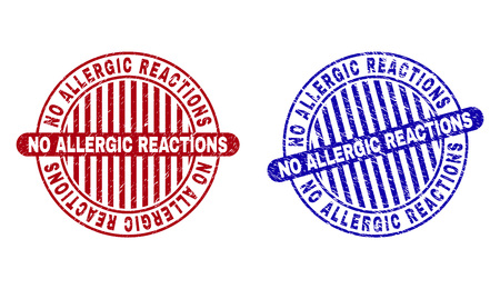 Grunge NO ALLERGIC REACTIONS round stamp seals isolated on a white background. Round seals with grunge texture in red and blue colors. Illusztráció