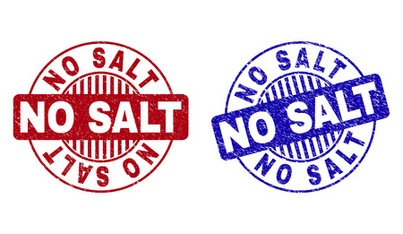 Grunge NO SALT round stamp seals isolated on a white background. Round seals with grunge texture in red and blue colors. Vector rubber imitation of NO SALT tag inside circle form with stripes.