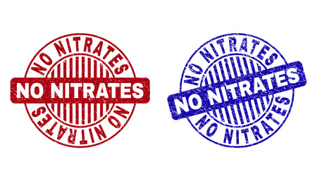 Grunge NO NITRATES round stamp seals isolated on a white background. Round seals with grunge texture in red and blue colors. Illusztráció