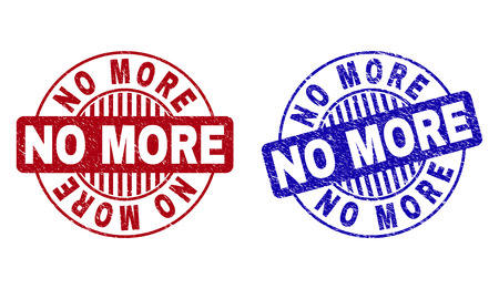 Grunge NO MORE round stamp seals isolated on a white background. Round seals with grunge texture in red and blue colors. Vector rubber overlay of NO MORE caption inside circle form with stripes. Illustration