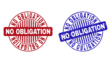 Grunge NO OBLIGATION round stamp seals isolated on a white background. Round seals with grunge texture in red and blue colors. Ilustrace