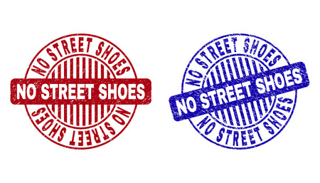 Grunge NO STREET SHOES round stamp seals isolated on a white background. Round seals with grunge texture in red and blue colors. Vectores