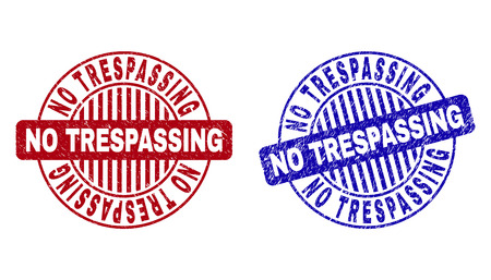 Grunge NO TRESPASSING round stamp seals isolated on a white background. Round seals with grunge texture in red and blue colors.