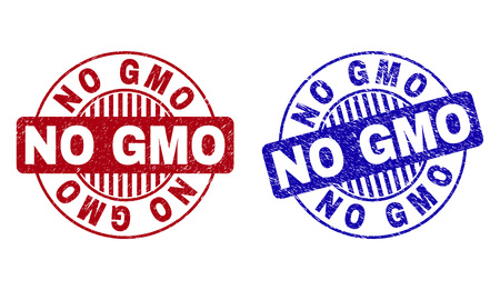 Grunge NO GMO round stamp seals isolated on a white background. Round seals with grunge texture in red and blue colors. Vector rubber imprint of NO GMO tag inside circle form with stripes.