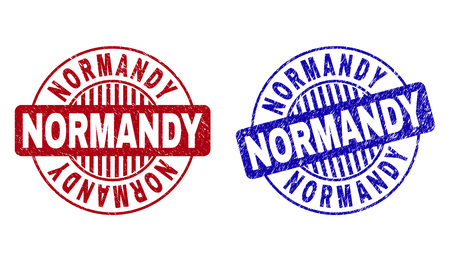 Grunge NORMANDY round stamp seals isolated on a white background. Round seals with grunge texture in red and blue colors. Vector rubber imprint of NORMANDY tag inside circle form with stripes.