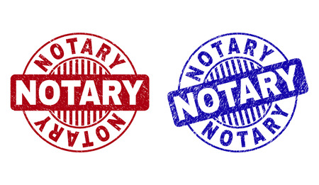Grunge NOTARY round stamp seals isolated on a white background. Round seals with distress texture in red and blue colors. Vector rubber imitation of NOTARY tag inside circle form with stripes. Stock Illustratie