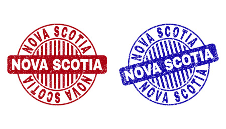 Grunge NOVA SCOTIA round stamp seals isolated on a white background. Round seals with grunge texture in red and blue colors. Vector rubber imprint of NOVA SCOTIA text inside circle form with stripes.