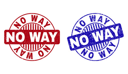 Grunge NO WAY round stamp seals isolated on a white background. Round seals with grunge texture in red and blue colors. Vector rubber imprint of NO WAY text inside circle form with stripes.