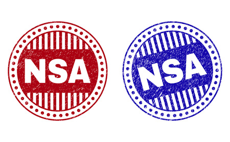 Grunge NSA round stamp seals isolated on a white background. Round seals with grunge texture in red and blue colors. Vector rubber watermark of NSA text inside circle form with stripes. Illustration