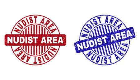 Grunge NUDIST AREA timbres ronds isolés sur fond blanc. Joints ronds avec texture grunge dans les couleurs rouge et bleu.
